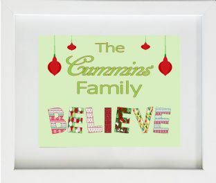 Personalised Believe Family Christmas Print